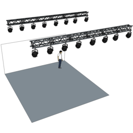 Belysningsramp 2x 6m med 12 lampor