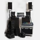Hyr PA högtalare ljudsystem mixerbord och mikrofoner för live band